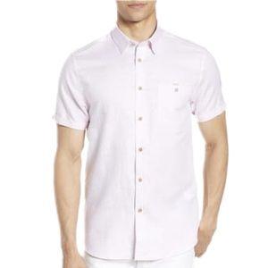 Ted Baker Linen Shirt Light Pink Short Sleeve